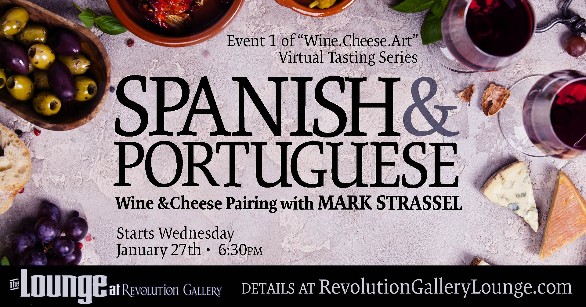 LAST WEEK! WEDNESDAY, JANUARY 27th - wines and cheese may still be ordered at the gallery for pickup next week. Click image for details!