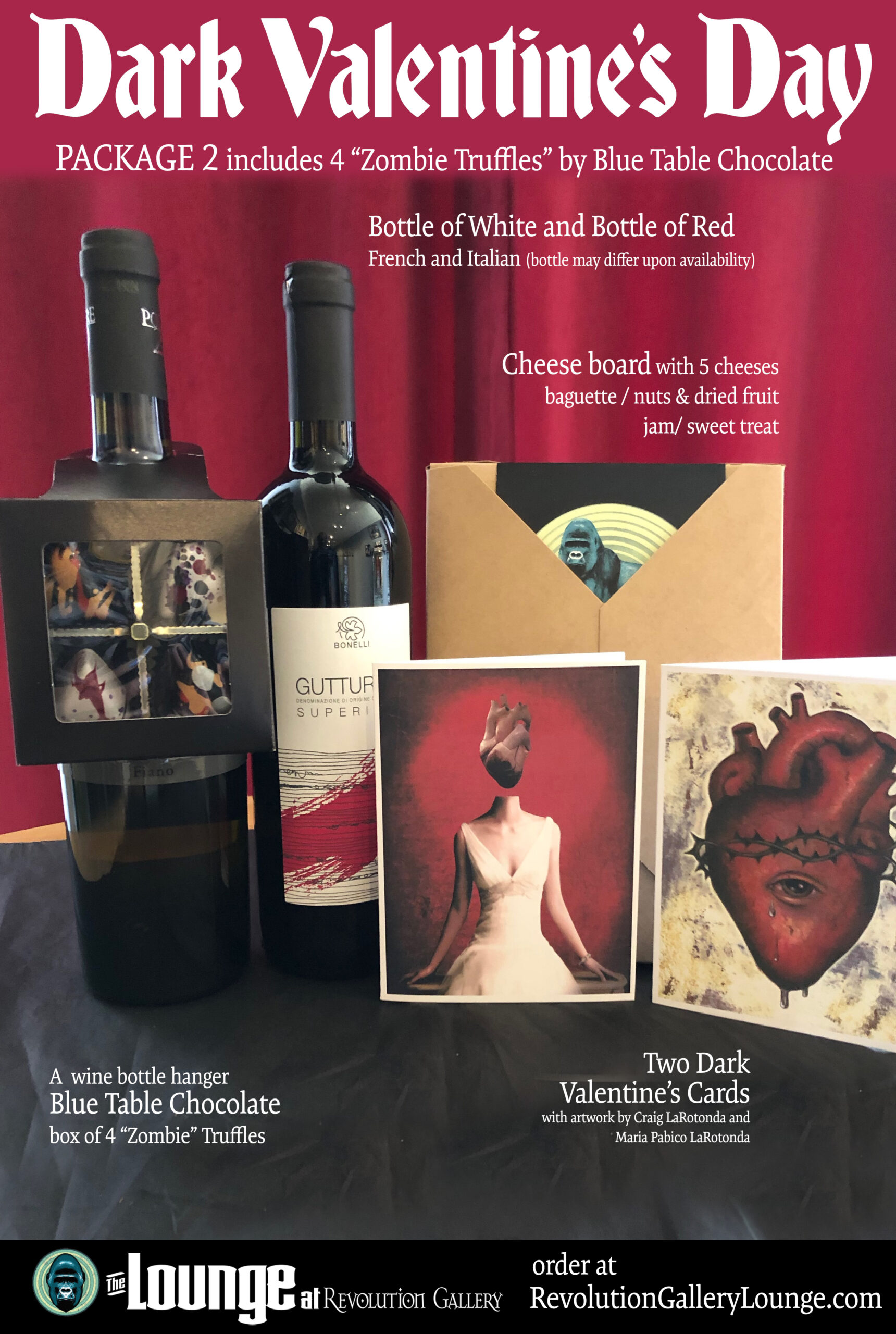 Pic of two bottles of wine, art cards, cheese board in package, chocolates