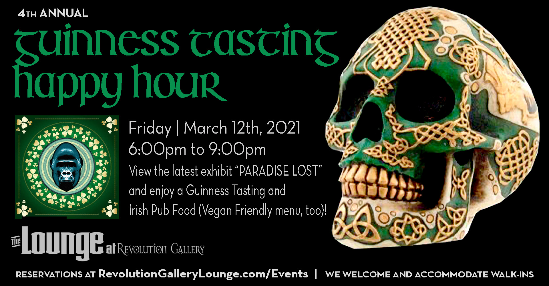 A green skull with St Patrick's symbols and pattern with info about a Guinness Tasting